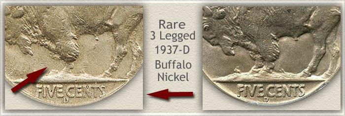 1937-D 3 Legged Buffalo Nickel