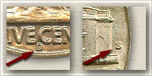 1938 Buffalo and Jefferson Nickel Mintmark Locations