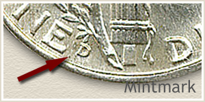 1940 Dime D Mintmark Location