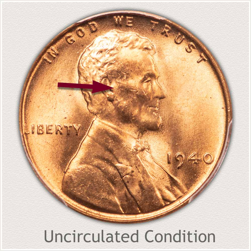 Uncirculated Grade 1940 Lincoln Penny