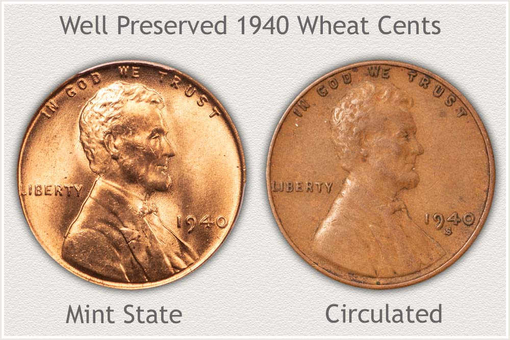 Well Preserved 1940 Wheat Cents