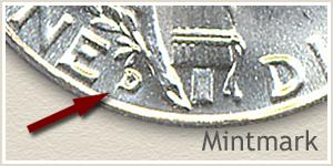1942 Dime D Mintmark Location