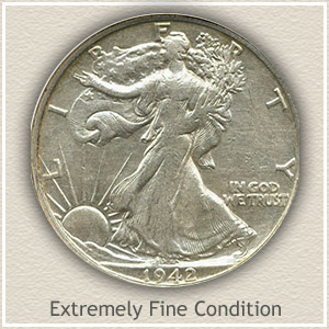 1942 Half Dollar Extremely Fine Condition