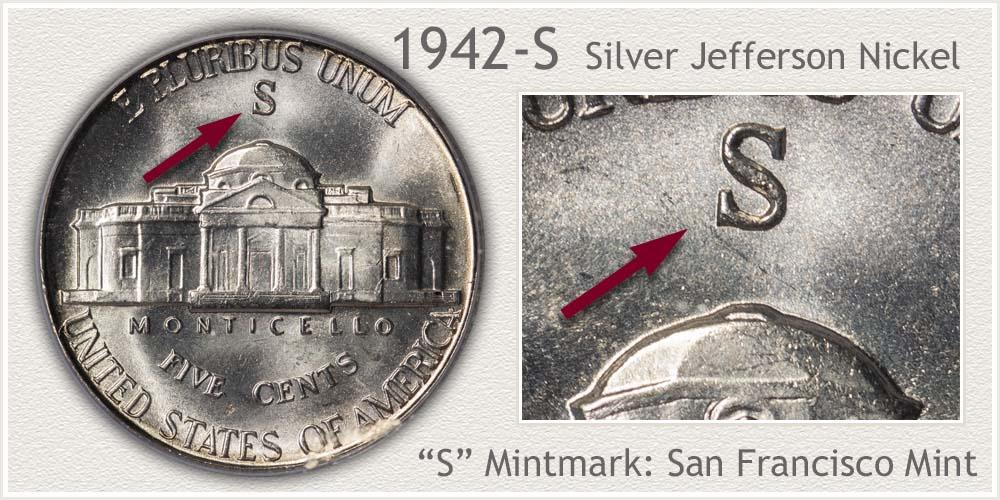 1942-S Silver Jefferson Nickel