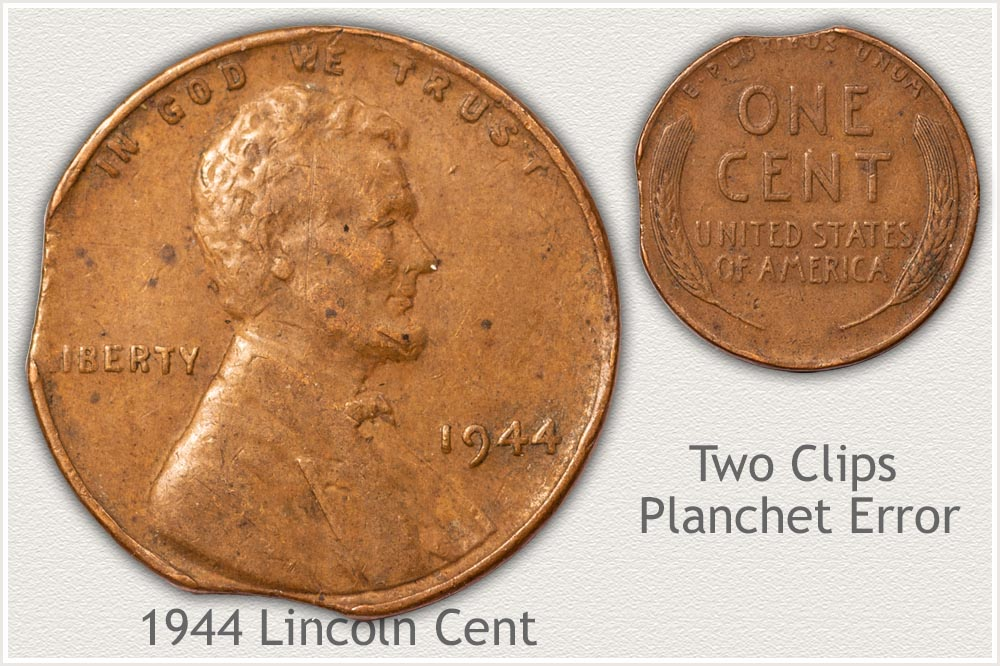1944 Lincoln Cent Clipped Planchet Error