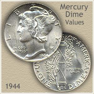 1944 Mercury Dime  90/% SILVER ~ GEM Q25 ~ Uncirculated ~ Nice BU