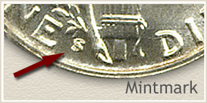 1945 Dime S Mintmark Location
