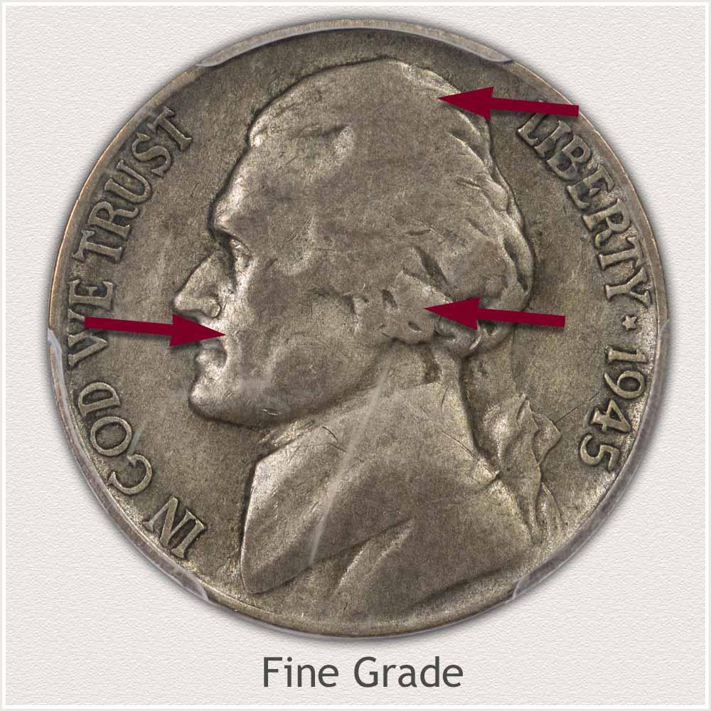 1945 Jefferson Nickel Fine Grade