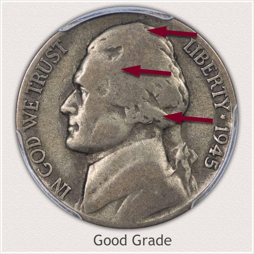 1945 Jefferson Nickel Good Grade