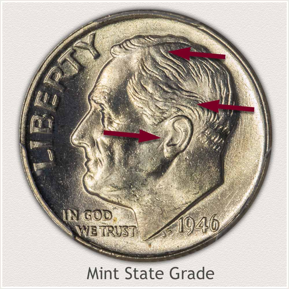 1946 Roosevelt Dime Mint State Grade