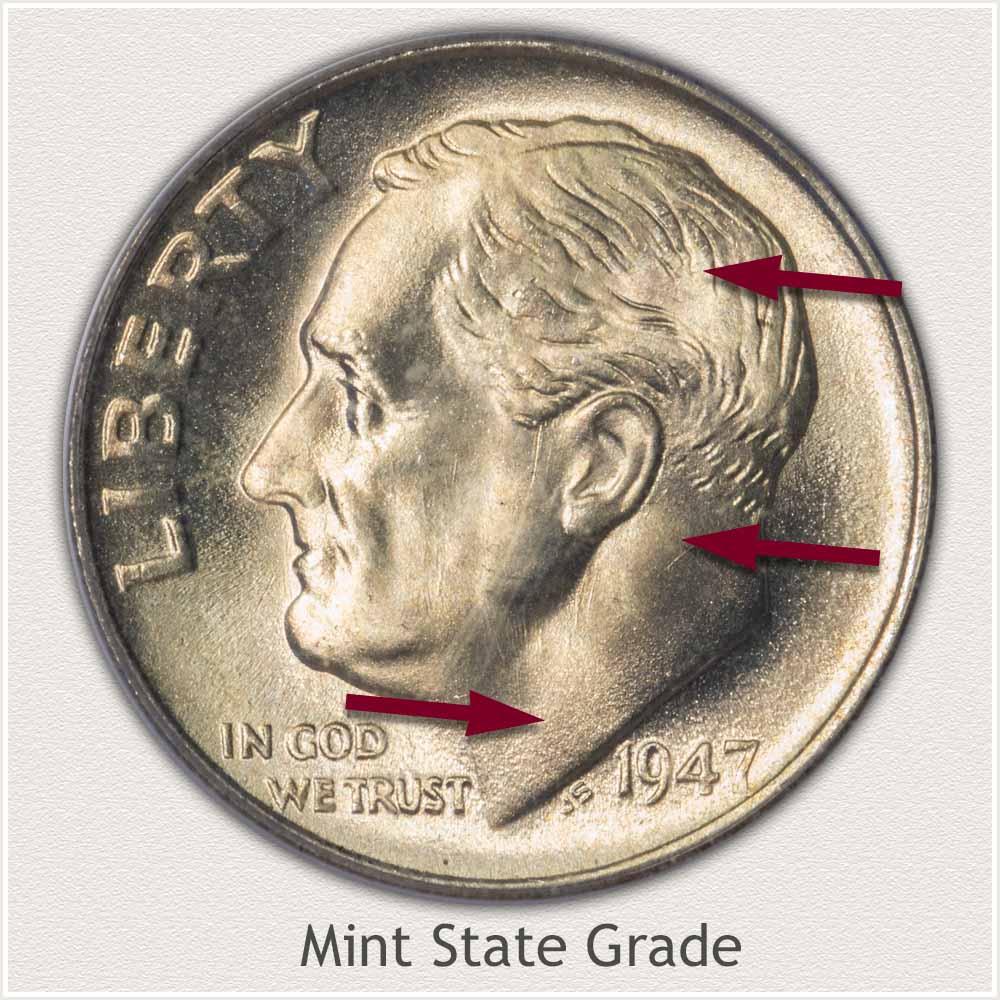 1947 Roosevelt Dime Mint State Grade