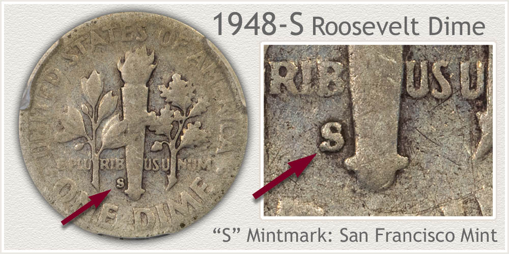 1948-S Roosevelt Dime