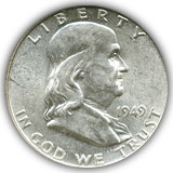 1949 FRanklin Half Dollar About Uncirculated Condition