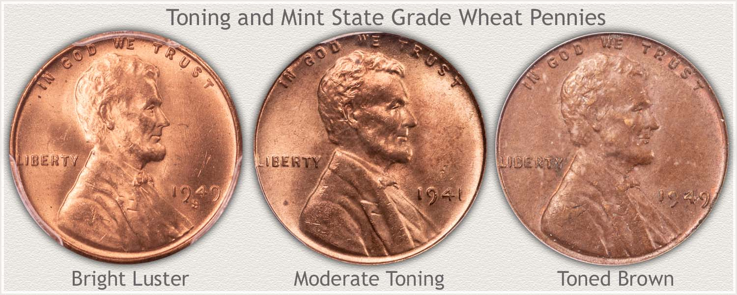 Stages of Toning of Mint State Wheat Pennies