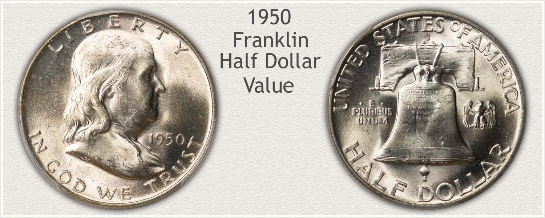 1950 Half Dollar - Franklin Half Series - Obverse and Reverse View