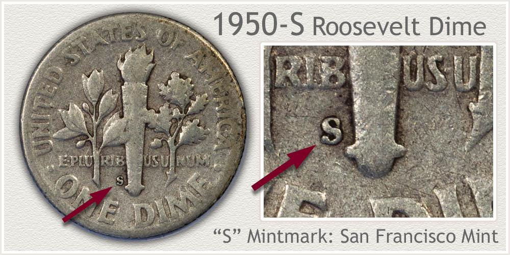 1950-S Roosevelt Dime