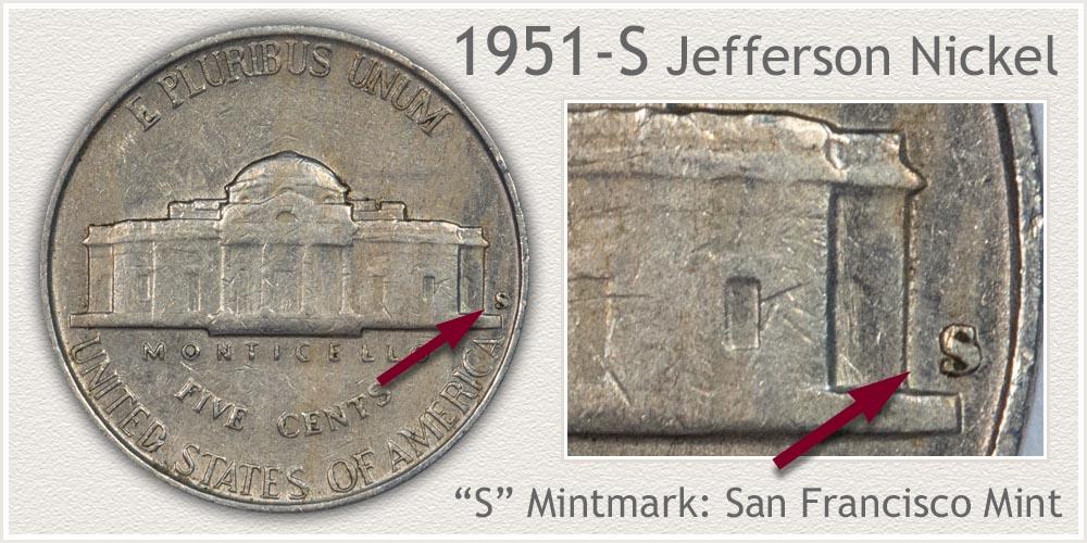 1951-S Jefferson Nickel