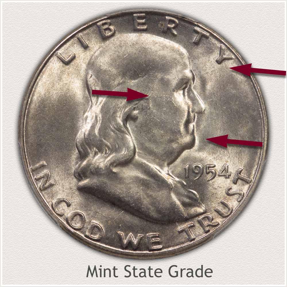 1954 Franklin Half Dollar Mint State Grade