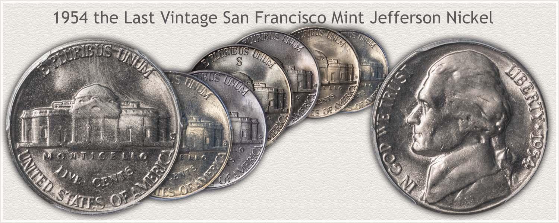 1954 San Francisco Mint Jefferson Nickel