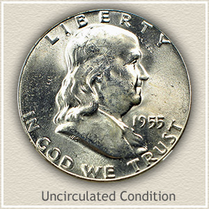 1955 Franklin Half Dollar Uncirculated Condition