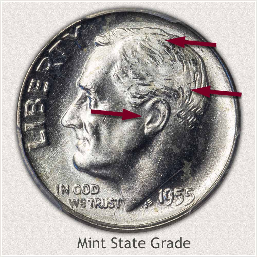 1955 Roosevelt Dime Mint State Grade