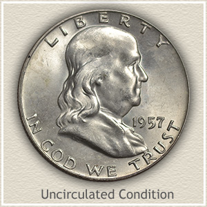 1957 Franklin Half Dollar Uncirculated Condition