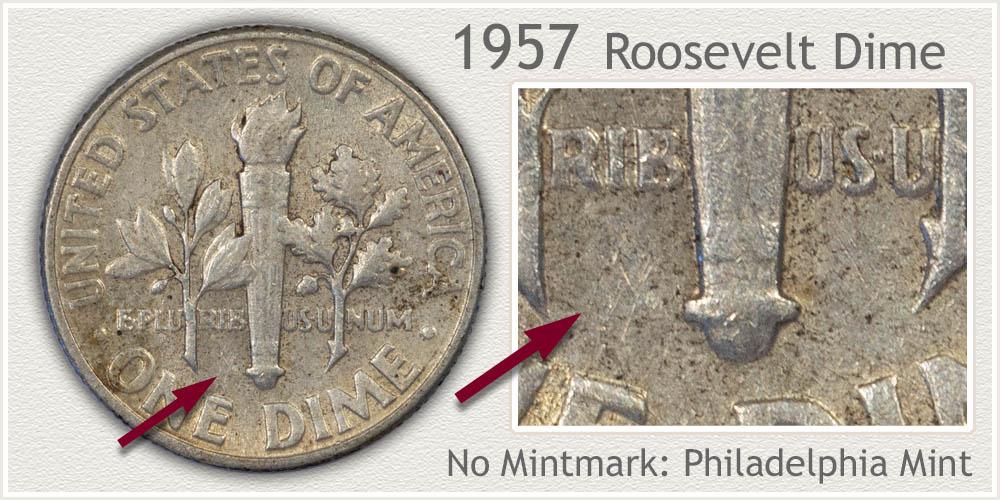 1957 Roosevelt Dime
