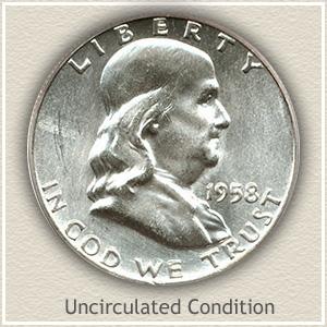 1958 Franklin Half Dollar Uncirculated Condition