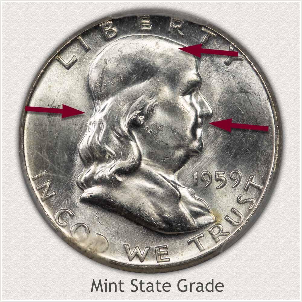1959 Franklin Half Dollar Mint State Grade