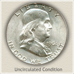 1961 Franklin Half Dollar Uncirculated Condition