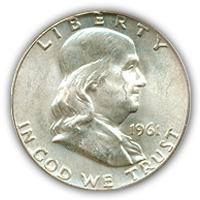 1961 Franklin Half Dollar Uncirculated Condition