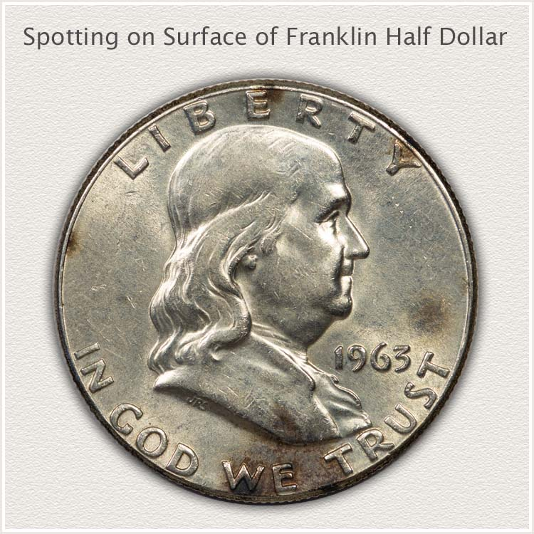 1963 Franklin Half Dollar with Discoloration