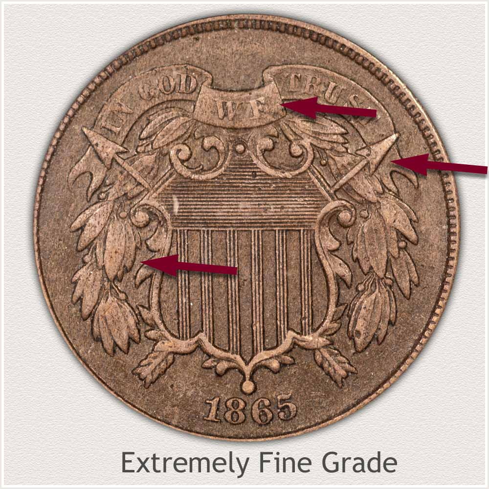 Obverse View: Extremely Fine Grade Two Cent Coin