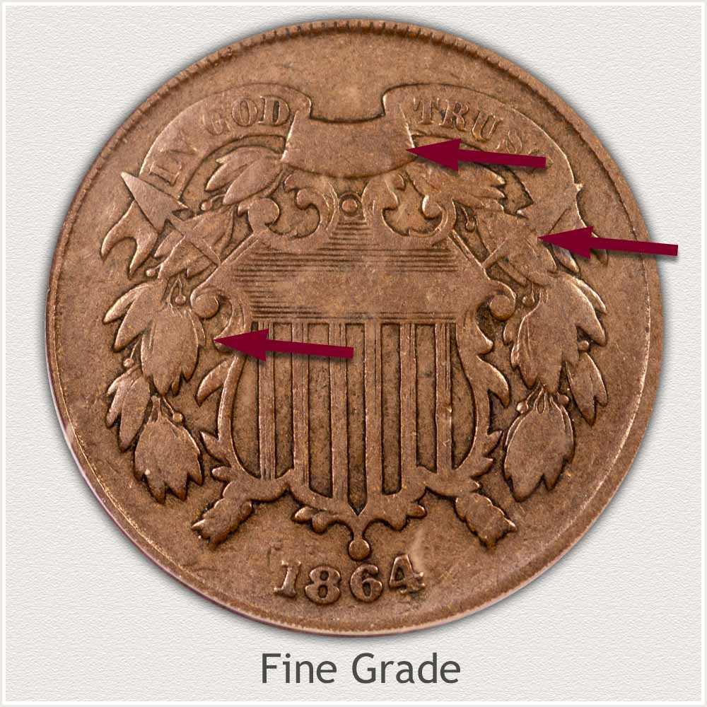 Obverse View: Fine Grade Two Cent Coin