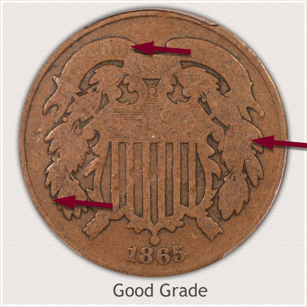 Obverse View: Good Grade Two Cent Coin