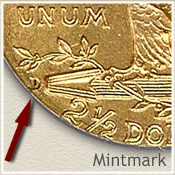 Indian $2.5 Dollar Gold Coin Mintmark Location