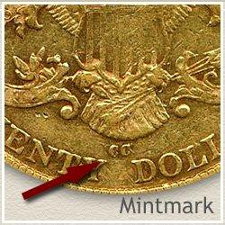 Liberty Twenty Dollar Gold Coin Mintmark Location