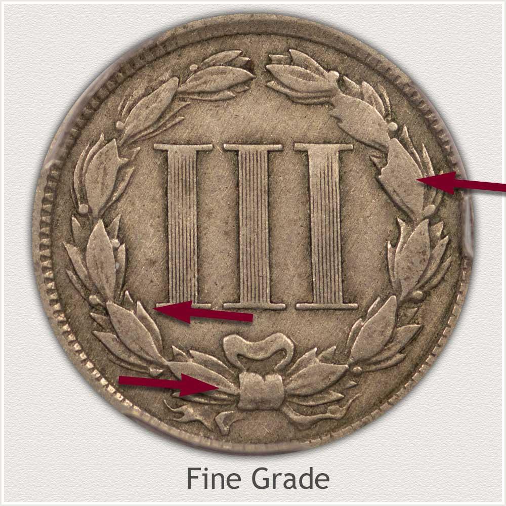 Reverse View: Fine Grade Three Cent Nickel