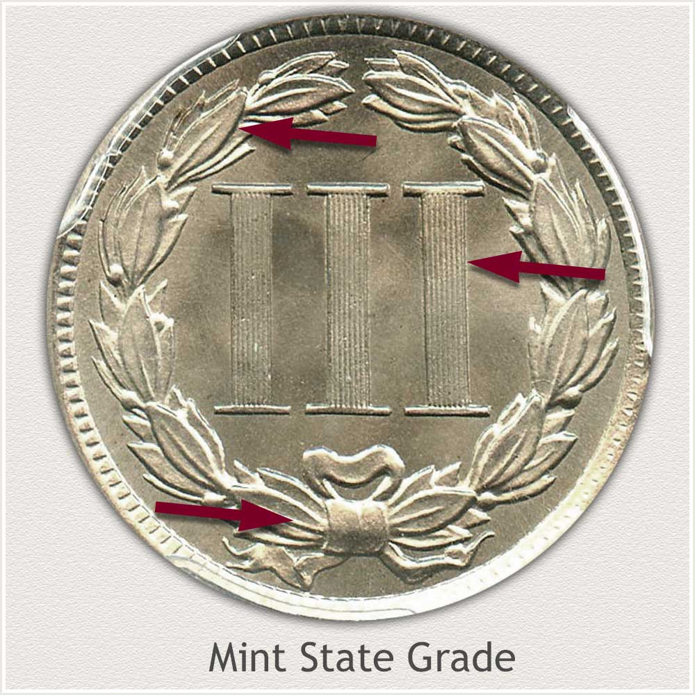 Reverse View: Mint State Grade Three Cent Nickel