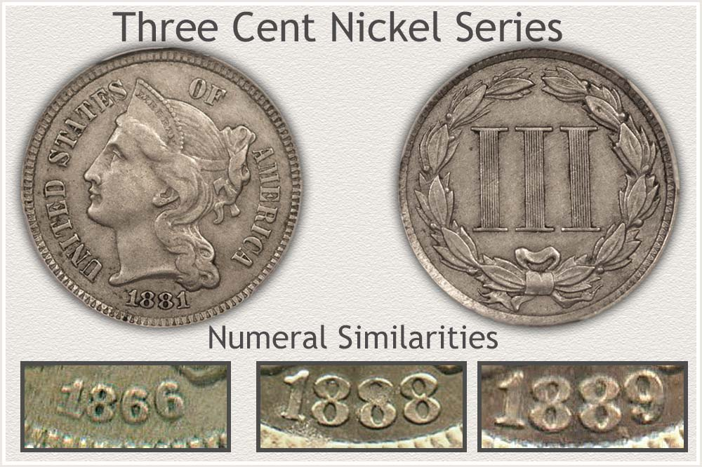 Obverse and Reverse Image of a Three Cent Nickel