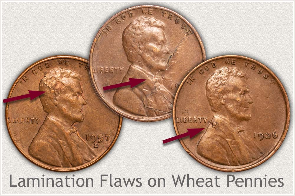 Lamination Flaws on Three Wheat Pennies