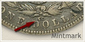Mintmark Location 1891-CC Morgan Silver Dollar