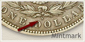 Mintmark Location 1895 Morgan Silver Dollar