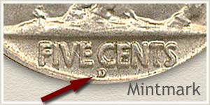 1919 Nickel D Mintmark Location