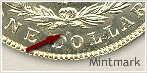Mintmark Location 1921 Morgan Silver Dollar