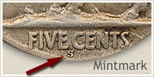 1921 Nickel S Mintmark Location
