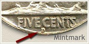 1934 Nickel D Mintmark Location