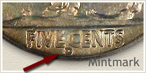 1935 Nickel D Mintmark Loc