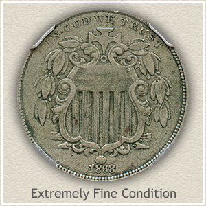 1868 Shield Nickel Extremely Fine Condition