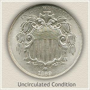 1869 Nickel Uncirculated Condition